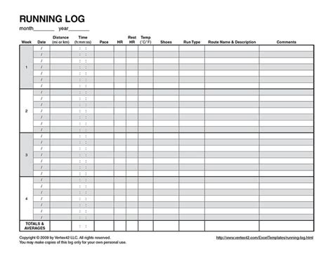 running log template running logs and free printable on