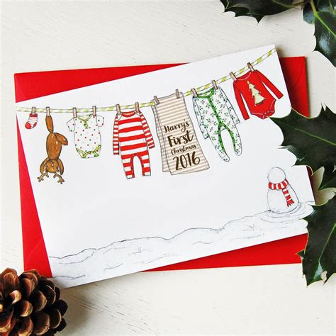 personalised baby first christmas card by and macy