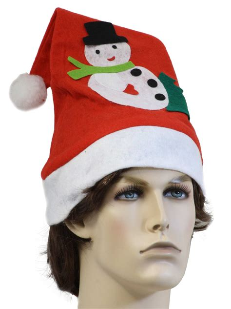 nineties santa hat with felt snowman 90s style santa