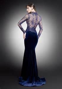 Lace top and velvet skirt evening dress back view shop this dress