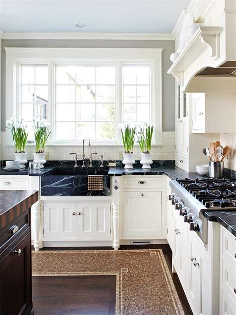 kitchen countertops white cabinets soapstone kitchen sink transitional kitchen bhg