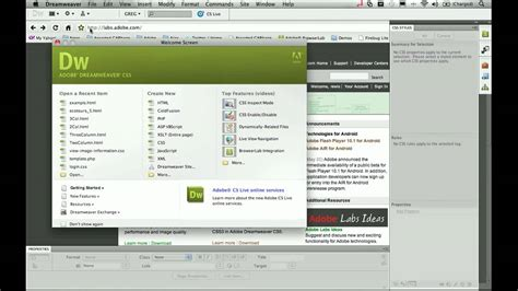html5 extension in dreamweaver cs5 tutorial html5 css3 with dreamweaver cs5 part 1 youtube
