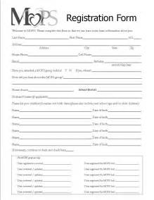 registration forms template mothers of preschoolers chippewa evangelical free church