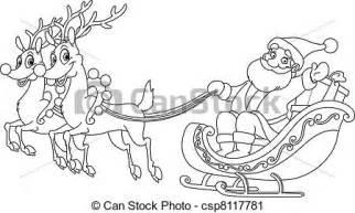 vector clip art outlined santa sleigh outlined santa riding sleigh csp8117781