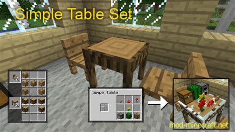 How To Make A Table In Minecraft by Table Set Mod 1 6 2 1 5 2 Mod Minecraft Net