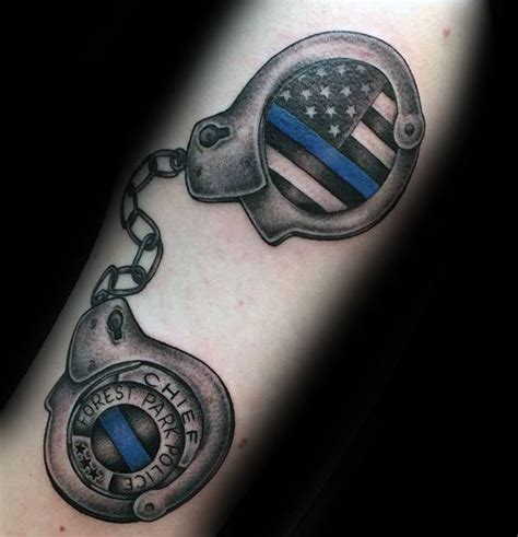 handcuff tattoo 50 thin blue line designs for symbolic ink ideas