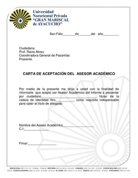 modelo de carta de aceptacion de universidad para cadivi carta de aceptaci 243 n tutor