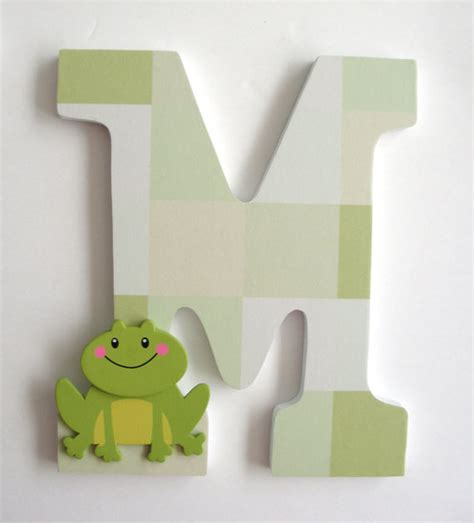 Decorated Wooden Letters For Nursery Items Similar To Frog Custom Decorated Wooden Letters Personalized Nursery Name D 233 Cor Unisex