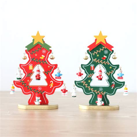 christmas decorations wooden diy christmas tree desktop