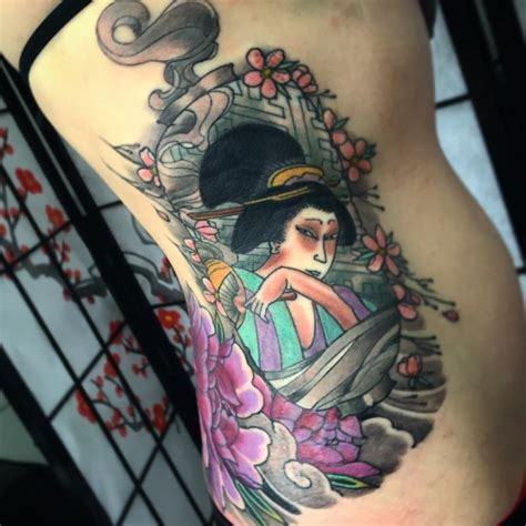 Geisha Tattoo Full Color | 52 japanese geisha tattoos ideas and meanings