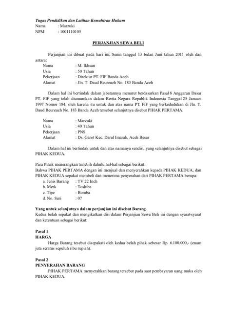 Surat Penawan Barang Elektronik by Contoh Surat Sewa Beli Barang Elektronik