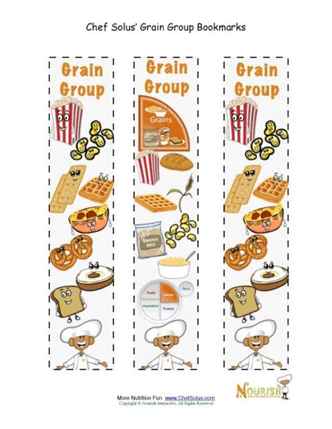 free printable nutrition bookmarks bookmark food group grains chef solus activity