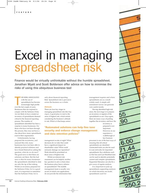 Spreadsheet Risk excel in managing spreadsheet risk