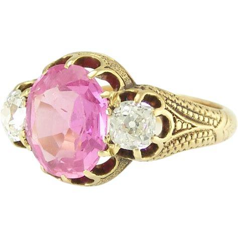 antique pink sapphire 18k yellow gold