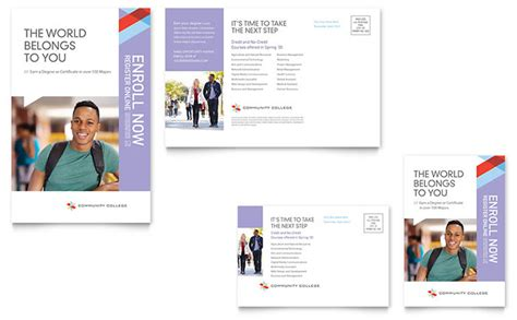 College Letterhead Sles Community College Postcard Template Word Publisher