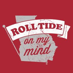 1043 the fan text line alabama crimson tide crimson quot roll tide on my mind quot t