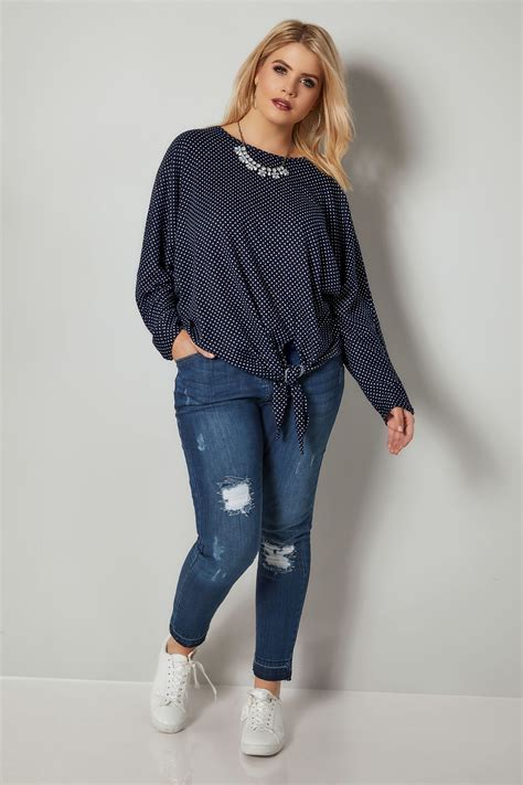 Check Value Of Visa Vanilla Gift Card - blue vanilla curve navy white polka dot knot top plus size 18 to 28