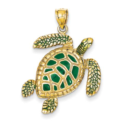 14k gold sea turtle charms with green enamel accents