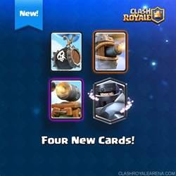4 new cards mega epic cannon flying machine skeleton balloon