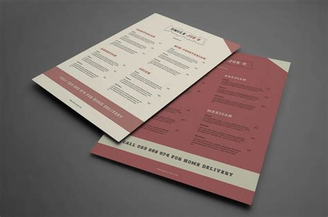 a5 menu template 50 free restaurant menu templates food flyers covers