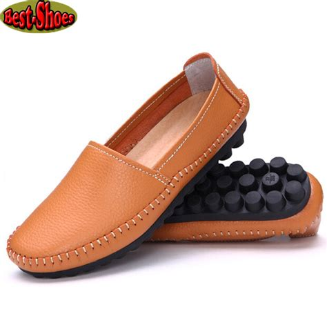 best shoes for flat womens aliexpress buy 2016 genuine leather loafers