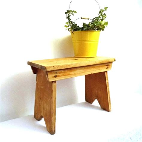 plant benches stands vintage wood stepstool foot stool antique milking rustic