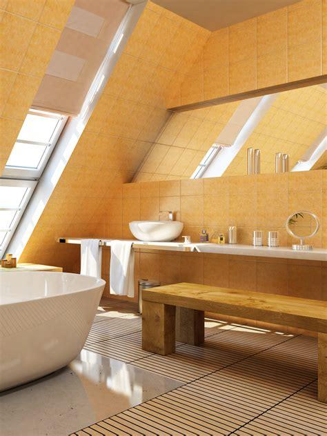 gelbe fliesen bad unterm dach ideen und tipps dekoration de