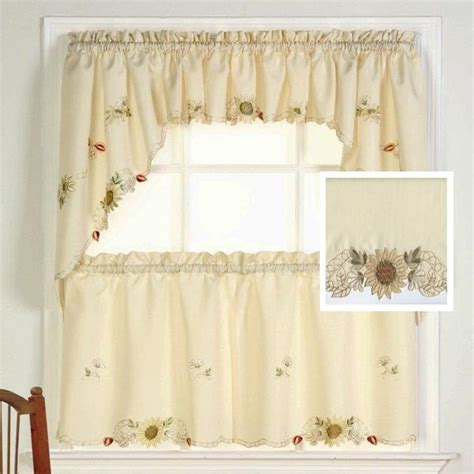 sunflower floral kitchen tiers and valance by lorraine