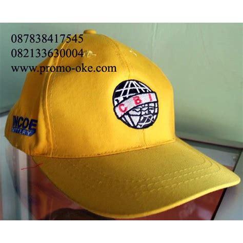 jual topi promosi bahan rafel cetak bordir warna kuning harga murah jakarta oleh toko kreasi