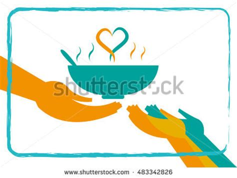 giving food hungry concept heart formation stock vector