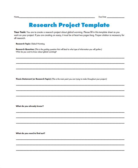 Template For Research by 8 Research Project Templates Sle Templates