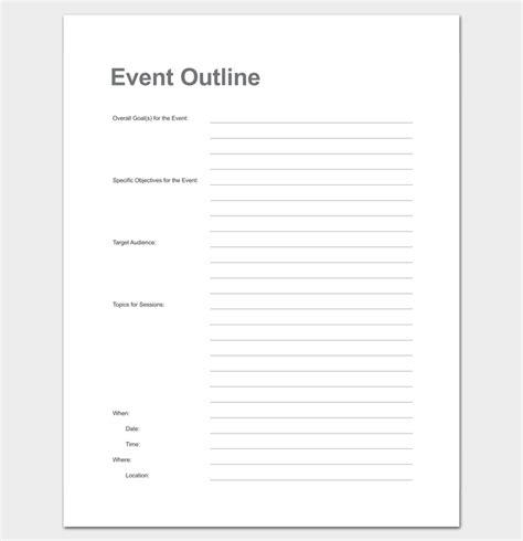 event outline template event program outline 13 printable sles exles