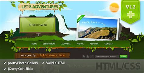 Let S Adventures Html Css Template By Layersky Themeforest Adventure Website Templates