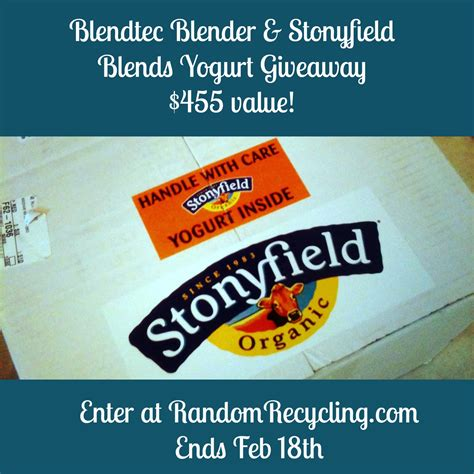 Yogurt Giveaway - blendtec blender review and giveaway with stonyfield yogurt