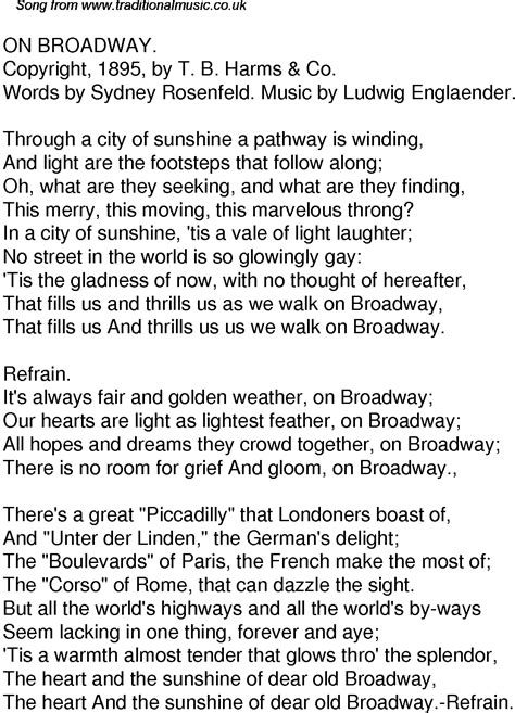 Old Time Song Lyrics for 47 On Broadway