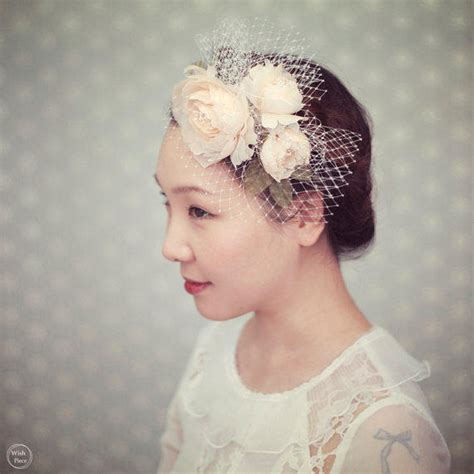 Wedding Hair Flower With Netting by Bridal Fascinator Floral Headband With From Wishpiece On