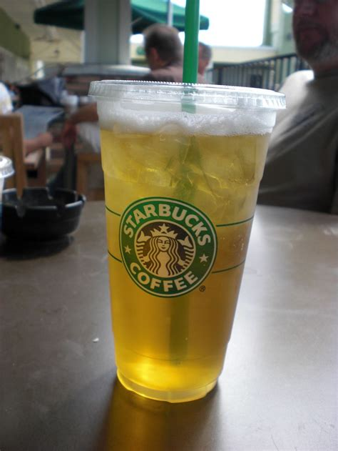 STARBUCKS venti (or trenta) iced green tea. with light apple juice. everyday.   Products I Love