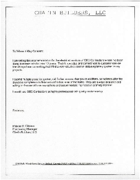 Reference Letter Contractor Template Letter Of Recommendation For Contractor Best Template