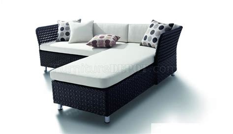 black modern patio sectional sofa w white cushions