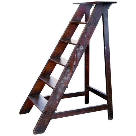 library ladders antique wooden library ladder from belgium at 1stdibs