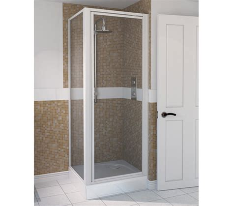 Aqualux Shower Doors Aqualux Aqua 4 Pivot Shower Door 760mm White 1174005