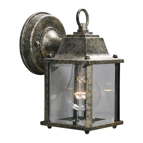 Antique Outdoor Wall Lights Shop Galaxy 8 In H Antique Silver Outdoor Wall Light At Lowes