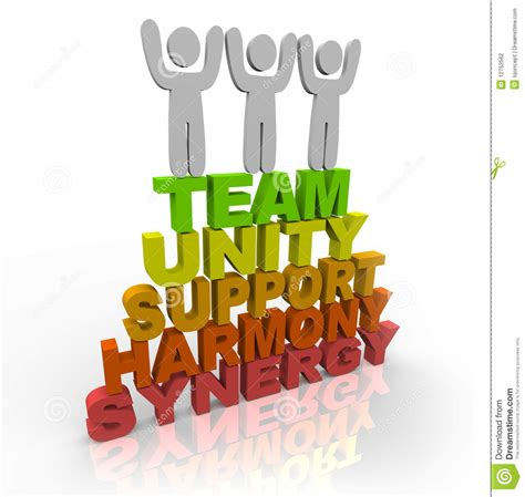 three members teamwork team members stand on words stock photography image 12752562