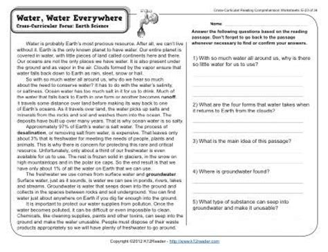 Water Cycle Reading Comprehension Worksheet by Water Water Everywhere Reading Worksheets Spelling