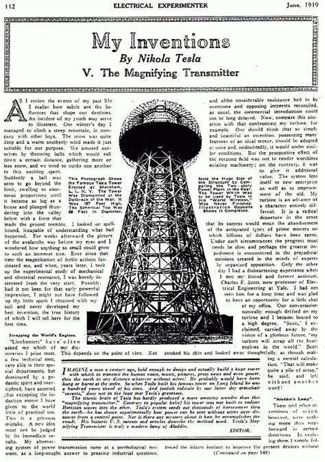 Tesla Magnifying Transmitter Nikola Tesla The Magnifying Transmitter