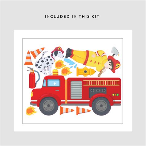 truck wall stickers firetruck printed wall decal