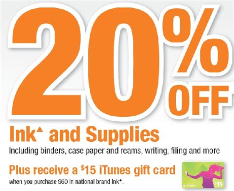 Officemax Gift Card Sale - officemax 20 off ink 15 itunes card
