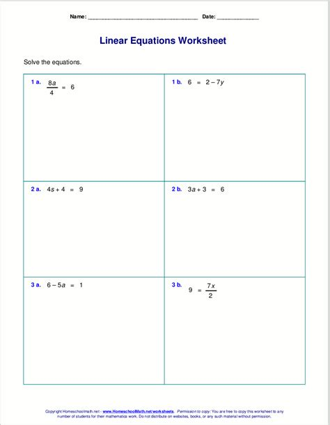 free worksheets for linear equations grades 6 9 pre