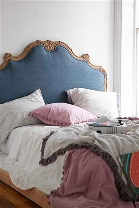 plum  bow margaux blue linen headboard