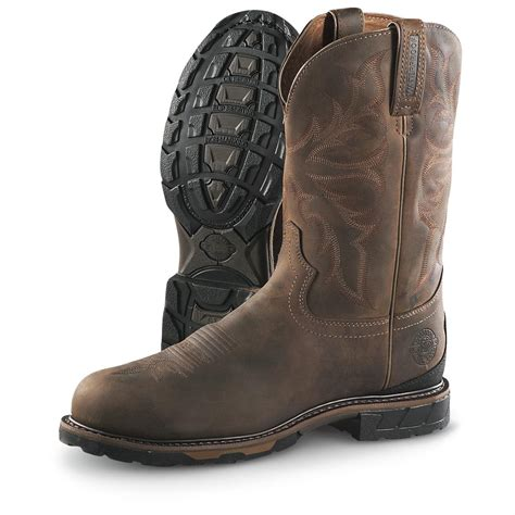 s justin 174 11 quot waterproof steel toe pull on boots